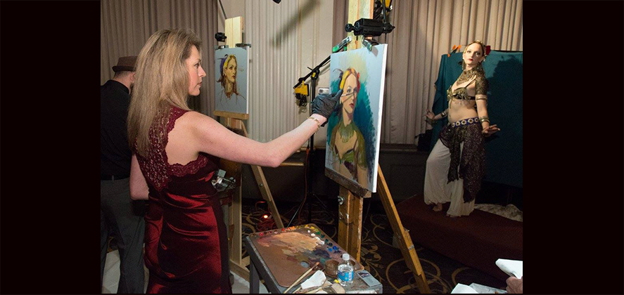Portrait Painting Demonstration at Studio Incamminati Gala at the Ben, Philadelphia