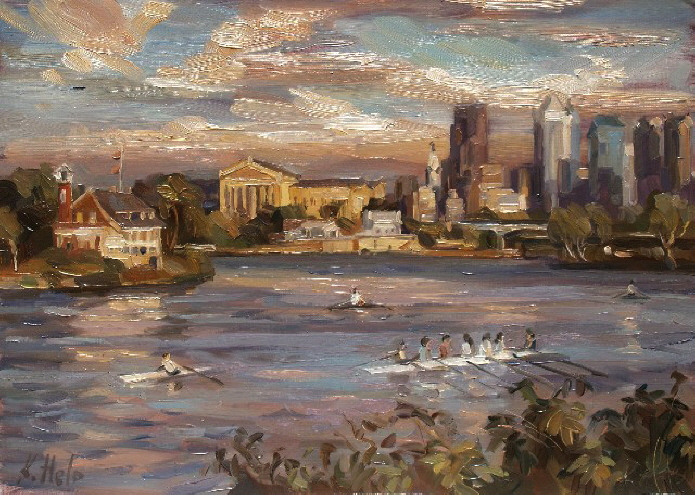 Schuylkill River and Philadelphia Skyline. 2006 SOLD