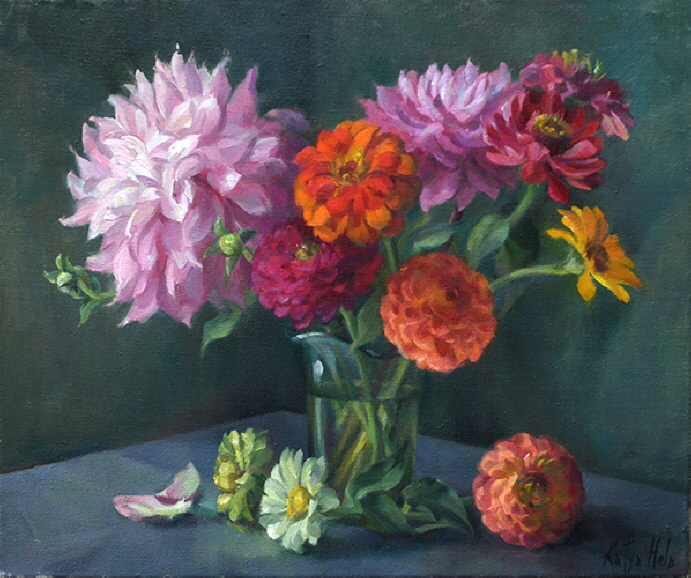 Still Life with Zinnias, Dahlias & Gerberas. 2017